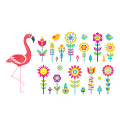 Summer objects or elements flamingo and flowers vector