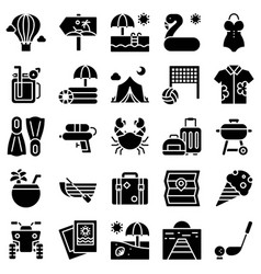 summer vacation related icon set 2 solid style vector image