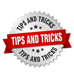 Tips and tricks 3d silver badge with red ribbon vector