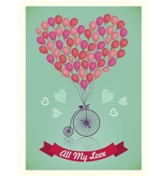 Valentine Birthday Love romantic card vector image