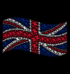 Waving united kingdom flag mosaic of road pointer vector