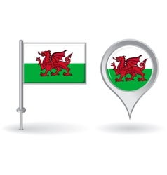 Welsh pin icon and map pointer flag vector