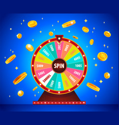 Wheel of fortune with gold 3d coins lottery and vector