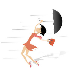 Windy day and woman with a handbag and umbrella is vector