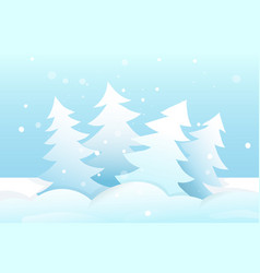 winter fur trees forest in snow christmas scene vector image