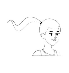 Young pretty woman with ponytail icon image vector
