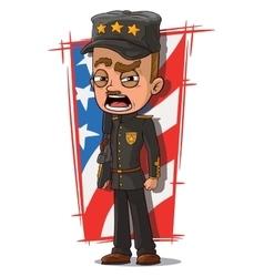 Cartoon shouting general in black uniform vector