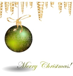 Christmas green bauble with pattern and golden vector image
