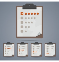 Clipboard with rating stars and checkboxes vector image vector image