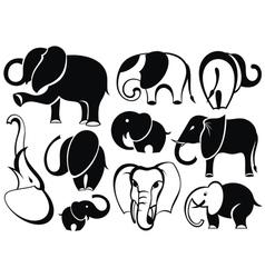 Elephant set silhouette vector image vector image