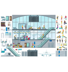 flat airport infographic template vector image vector image