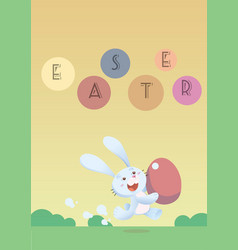 running easter bunny with easter egg vector image