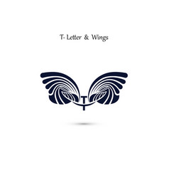 t letter sign and angel wings monogram wing logo vector image