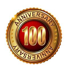 100 years anniversary golden label vector image vector image