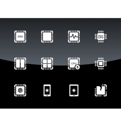CPU icons on black background vector image