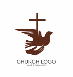 cross and dove in hand vector image vector image