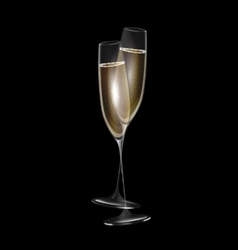dark and two glasses of champagne vector image vector image