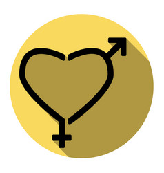 gender signs in heart shape flat black vector image