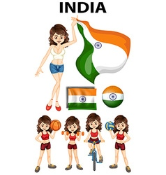 Indian girl doing different sport vector image vector image