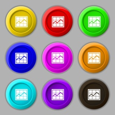 Chart icon sign symbol on nine round colourful vector image vector image