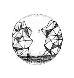 Dotwork polygonal rock mountain vector