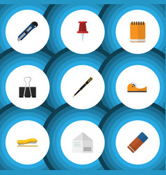 flat icon stationery set of sticky paper clip vector image