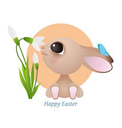 greeting card with easter rabbit funny easter vector image