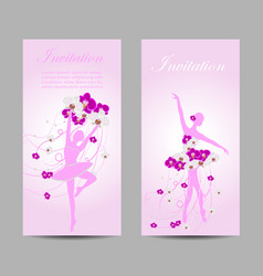 set of banners with ballerinas vector image