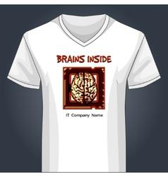 V neck shirt template with human brain inside main vector