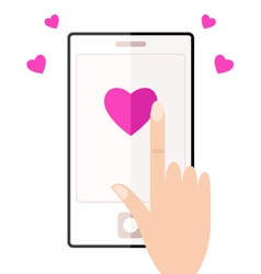 Cell phone with touching hand and hearts vector image