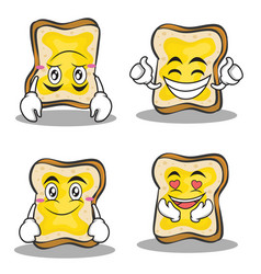 collection set bread character cartoon vector image vector image