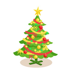 decorated christmas spruce vector image vector image
