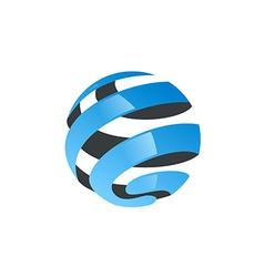 globe abstract ribbon technology logo vector image vector image