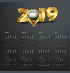 2019 calendar template uzbekistan country map vector
