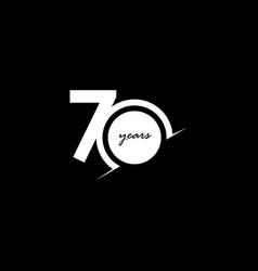 70 years anniversary celebration number white vector