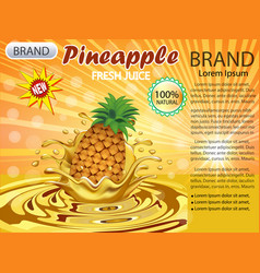 a splash juice from a falling pineapple and a vector image