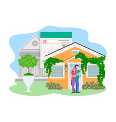 a young couple at the door of vector image