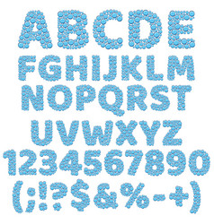 Alphabet numbers and signs made bubbles vector