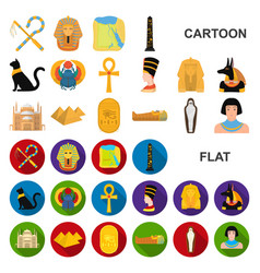 Ancient egypt cartoon icons in set collection vector