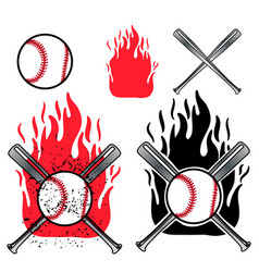 baseball logo on fire background vector image