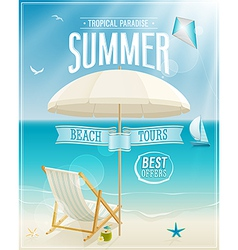 Beach chaise lounge card vector