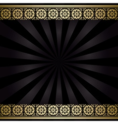 Black background with golden decorations and rays vector
