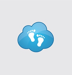 Blue man footprints icon vector