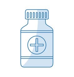 Blue silhouette shading remedy bottle with tap and vector