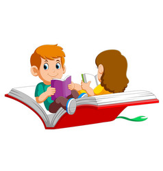 Boy and girl child flying on a big open book vector