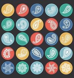 buta icons set on color circles black white vector image