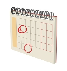 Calendar with marks cartoon icon vector image