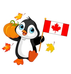 Canadian Thanksgiving Day Penguin vector image