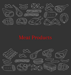 Card template with different kinds of meat vector