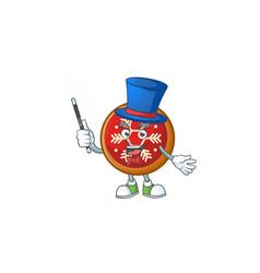 Cartoon red christmas ball with magician vector